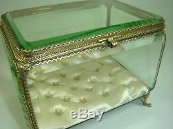 Grand Coffret Boite A Bijoux Napoleon III Verre Biseaute Tres Bon Etat