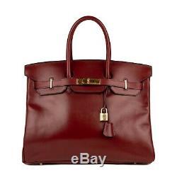 Hermès Birkin 35 en cuir Box Bordeaux, accastillage plaqué or, très bon état