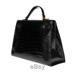 Hermès Kelly 35 bandoulière en crocodile porosus noir, très bon état
