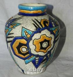 K Superbe vase Art Deco BOCH ET FRERES LA LOUVIERE Belgium (très bon état)