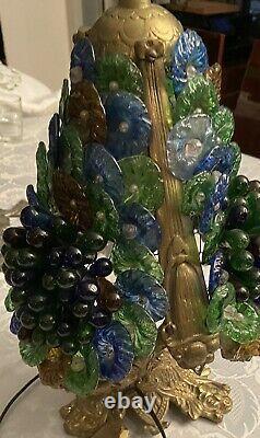 Lampe Grappe De Raisins En Verre Murano Avec Pied Bronze très bon état