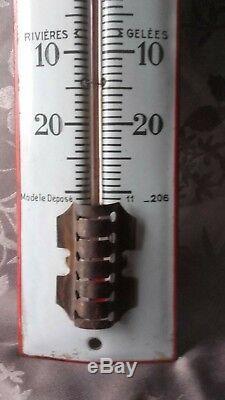 Le Mandarin Plaque Émaillée Thermomètre Authentique Années 20 Très Bon État
