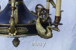 Lustre empire en bronze h 95 cm diamètre 60 cm, finement décoré, très bon état