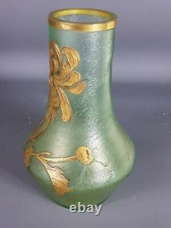 Montjoye Legras vase verre givré décor gravé émaillé d'iris, signé Très bon état