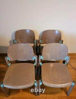 RARE 4 Chaises THONET EMPILABLE BOIS ET ALUMINIUM ANNEE 80 EN TRES BON ETAT