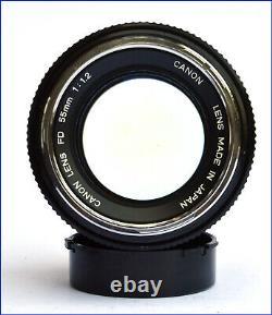 RARE LENS CANON FD 55mm 11,2 FOR AE-1 F-1 A-1. CHROME NOISE TRES BON ETAT