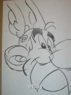 Rare Dessin Original / Asterix Signe Uderzo / Tres Bon Etat