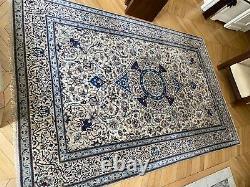 Tapis véritable Nain persan fait main 100% laine bleue et beige très bon état