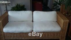 Vends 2 canapés en rotin design avec coussins beige pour salon très bon état