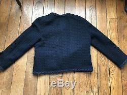 Veste CHANEL 40 Tweed Vintage Bleu Marine Très bon état